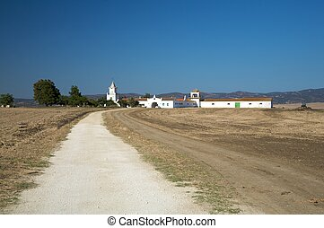 spanish farmhouse - farm white building typical of andalusia...