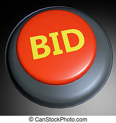 Bid 3D button - Bid word on 3D rendered button