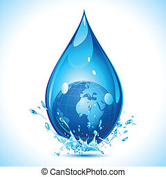 Earth Drop - illustration of globe inside water drop on...
