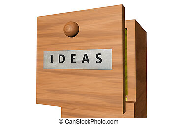 Drawer with ideas documents - 3D rendered image of drawer...