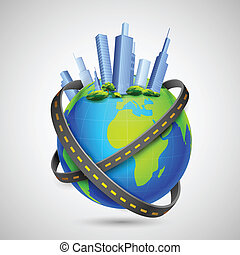 Road around Globe with Tall Buildings - illustration of road...