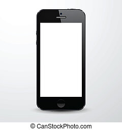 Realistic black smartphone. - Vector illustration of black...