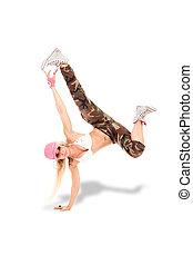 Female Break dancer performing freeze - Sexy female break...