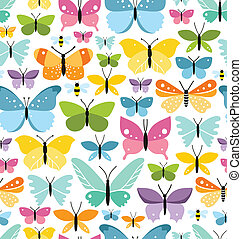 Seamless pattern with a lot of fun colorful butterflies