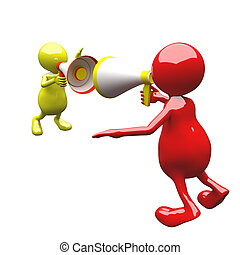 3D People with megaphone red and yellow