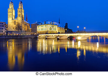 Bridge and Minster in Zurich - A bridge and the Minster in...
