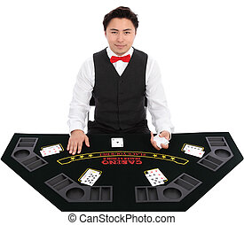 Black Jack Dealer - Black jack dealer with cards, wearing a...