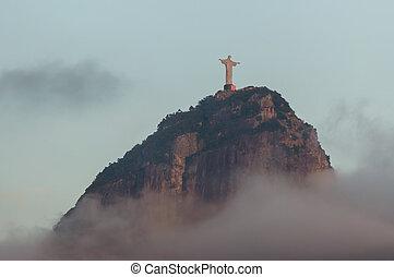 Corcovado mountain and Christ the Redeemer in Rio de Janeiro...