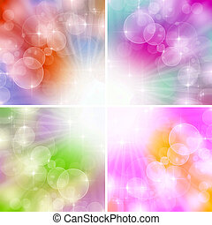 4 Color Lights Background With Bokeh