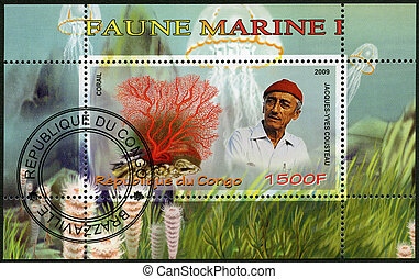 CONGO - 2009: shows coral and Jacques Cousteau (1910-1997) -...