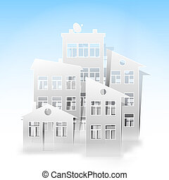 white houses as real estate symbols on light blue