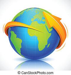 Arrow around Globe