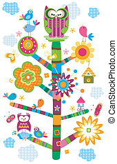 owl`s tree - colorful owl`s tree in bloom