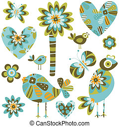 whimsy elements; birds, flowers hearts set