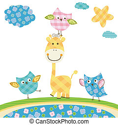cute owls and giraffe - cute happy owls giraffe