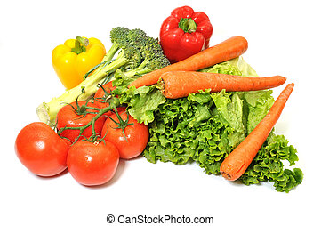 Green leafy lettuce, tomatoes, carrots, and bell peppers...