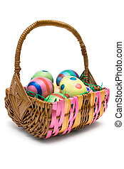 Eggs in Easter Basket - Woven basket full of colorful eggs....