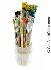 Used Paintbrushes in a Glass - Bunch of dirty paintbrushes...