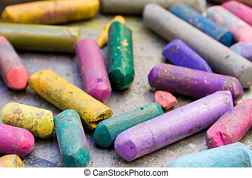 Battered Wax Crayons - Bunch of colorful used wax crayons.