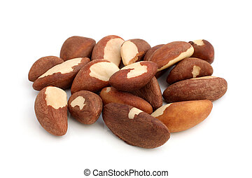 Brazil nuts on a white background