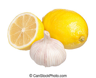 Anti-virus remedy - Fresh lemon with garlic isolated on...