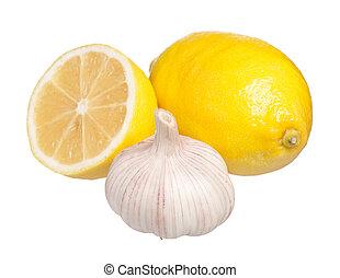 Anti-virus remedy - Fresh lemon with garlic isolated on...