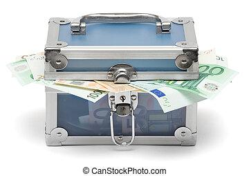 azul, dinero, pecho, cerrado