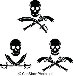 Jolly Roger - Dark pirate symbol Skull, sword and pistol
