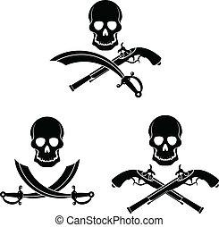 Jolly Roger - Dark pirate symbol. Skull, sword and pistol.