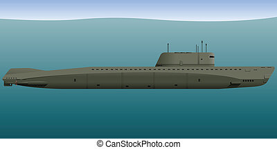 Submarine - Nuclear submarine under water Vector...