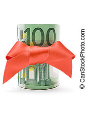 100 Euro Gift - Bundle of 100 Euro banknotes with a red...