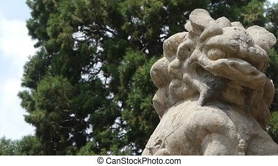 China Stone lion relying cypress tree