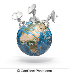 Satellite dishes on earth 3d Source of map:...