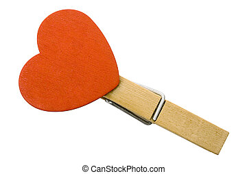 Heart on Clothespin with Clipping Path - Red heart attached...