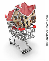 Property market House in shopping cart 3d