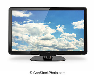 High Definition TV with cloud sky on screen.