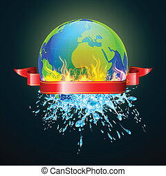 Earth in Danger - illustration of earth in fire from one...