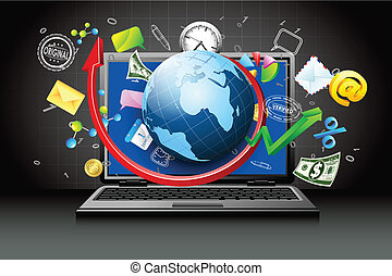 Virtual Business - illustration of globe and business item...