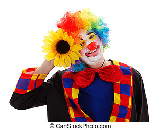 Clown with big yellow flower