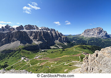 Dolomiti - Sellaronda - aerial view of Gardena pass and...