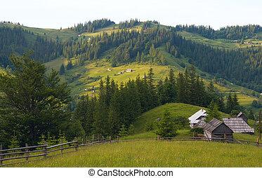 mountain hamlet - View on mountain hamlet on mountainside