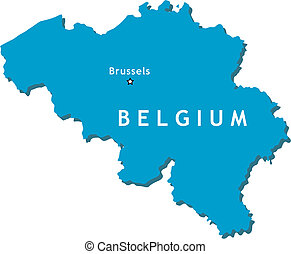Belgium vector map - Outline country map of Belgium with...