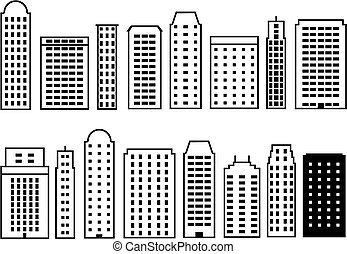 Skyscraper icons - Skyscraper city icon set Icons collection...