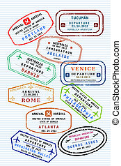 Passport stamps - Various colorful visa stamps (not real) on...