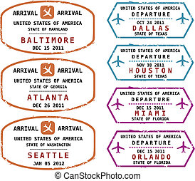 Passport stamps - Travel stamps from USA Grungy stamps not...