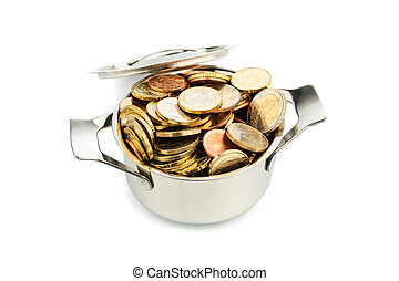 saucepan and euro coins - a pot filled with euro coins photo...