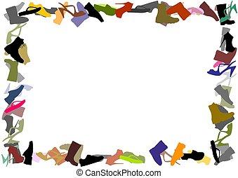 Footwear frame - Illustration of a frame made of footwear