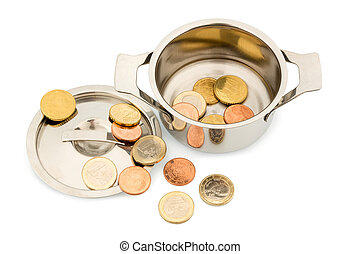 saucepan and euro coins - a pot with a few euro coins symbol...