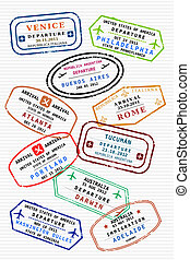 Travel - Various colorful visa stamps (not real) on a...