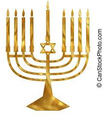 Golden Menorah - Illustration of a golden Menorah candelabra